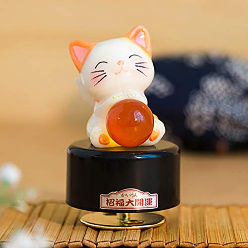 (Lovely Kitten Blessing Ceramics Clockwork Rotate Music Box,Spirited Away Castle in The Sky Gift Decoration,Orange Cityofthesky )