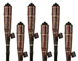 5 Star North Black Cherry/Espresso Stripe Bamboo Torches; Decorative Torches; Fiberglass Wicks; Extra-Large (16oz) Metal Canisters Longer Lasting Burn; Stands 59'' Tall (6 Pack)