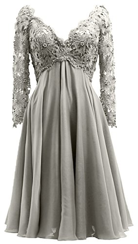 Gown Long Bride Silber Midi Lace Women of Dress Sleeve Neck Mother Formal the V MACloth qXBYwpx