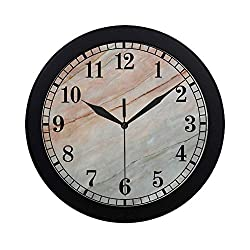 InterestPrint Marble Onyx Stone Textured Natural Artful Illustration Modern Round Wall Clock Decorative Quartz Clock for Office School Kitchen Bedroom Living Room, Black