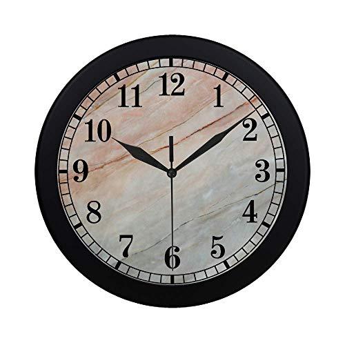 (InterestPrint Marble Onyx Stone Textured Natural Artful Illustration Modern Round Wall Clock Decorative Quartz Clock for Office School Kitchen Bedroom Living Room, Black )