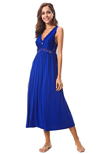 Womens Sleepwear Lace Lingerie Chemises V Neck Nightgown Long Sexy Sleep Dress Sleeveless Lace for Women Elegant (Royal Blue, Medium)