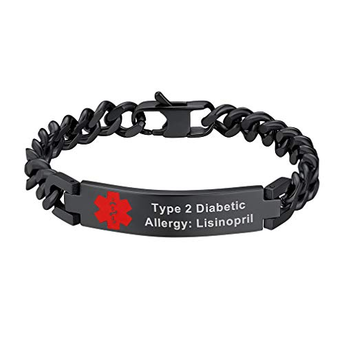 - Supcare Custom Engraved Medical ID Link Chain Bracelet Jewelry Black Stainless Steel for Men, Personalized Engraveable Emergency Medical Allergy Symbol Thin Chain Bracelet for Boys/Children/Women