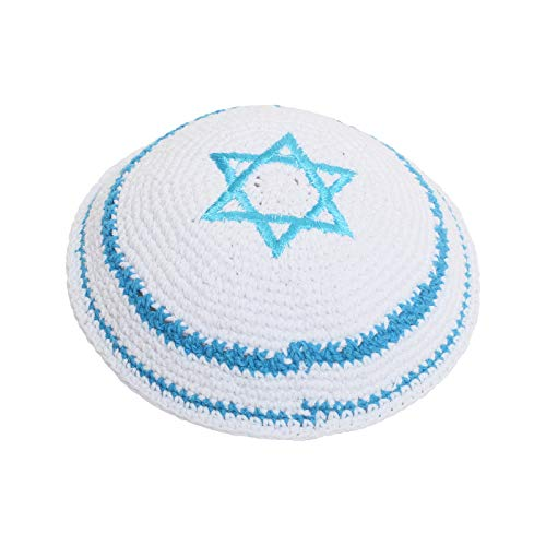 (EREZ OVED KIPPIK Star of David Jewish KippahHatFor Men & Kids with Clip Beautifully Knitted, Breathable, Comfy, Soft, Kippa Celebrating, Praying, Studying, Synagogue (Light Blue with Line))