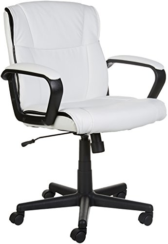 AmazonBasics Classic Leather-Padded Mid-Back Office Chair with Armrest - White