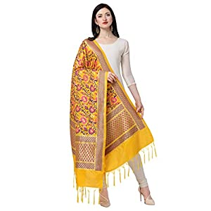 KAPAAHA Women's Woven Silk Banarasi Patola Dupatta Width 45 inch, Length 2.5 meter
