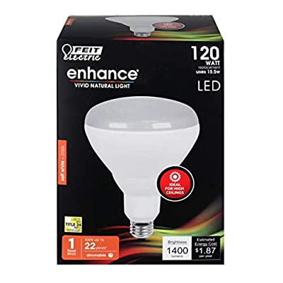 """Feit Electric BR40DMHO/927CA 120W Equivalent 15.5 Watt Dimmable Indoor Reflector 1400 Lumens BR40 LED Flood Light Bulb, 5"""" H x 3.75"""" D, 2700K Soft White"""