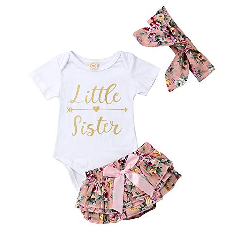 (Toddler Baby Girl Little Sister Bodysuit Onesie Romper+Floral Ruffle Bloomer Shorts Outfits with Headband (White, 0-6 Months))