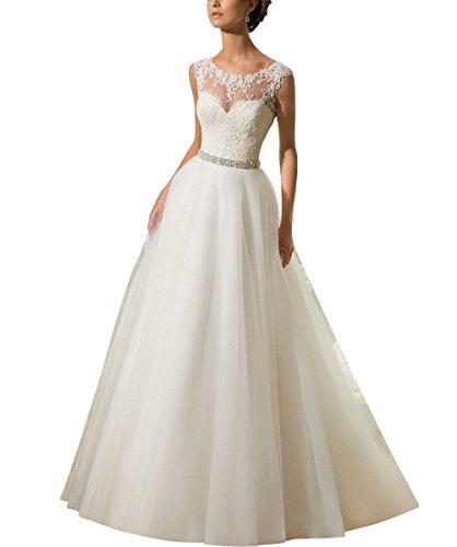 Zug Langes Herz Damen Hochzeitskleid Zurück Brautkleider Elfenbein 36 Sptize Elegantes für Illusion Linie A Weiß Kapelle Auschnitt q8tqRA