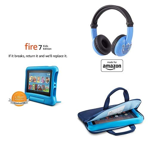 Fire 7 Kids Essential Bundle including Kids Fire 7 Tablet 16GB Blue + Playtime Bluetooth Headset (Ages 3-7) + Tablet Carrying Sleeve