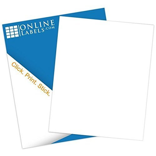 Waterproof Sticker Paper - White Matte - 100 Sheets - 8.5 x 11 Full Sheet Label (No Back Slit) - Inkjet Printers - Online Labels (Vinyl Laser Printer Labels)