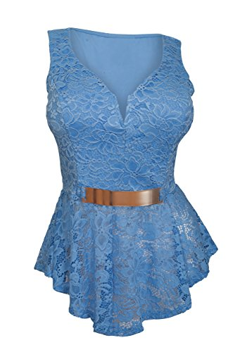 EVogues Plus size Lace Overlay Sleeveless Peplum Top Blue - 1X