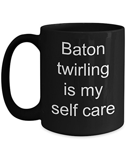self care, funny but true, black ceramic coffee mug, spinner gift tea cup ()
