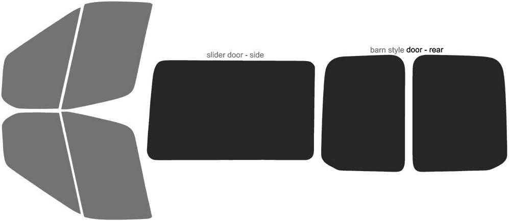 Precut Window Tint Kit 350 Medium /& High Roof 2016 250 2017 2018 Automotive Window Film Fits: 2015 2019 /& 2020 Ford Transit Cargo Van 150 Includes: Front Door Window precuts in 5/%