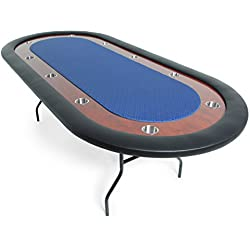 BBO Poker Ultimate Folding Poker Table for 10 Players with Blue Speed Cloth Playing Surface, 92 x 44-Inch Oval