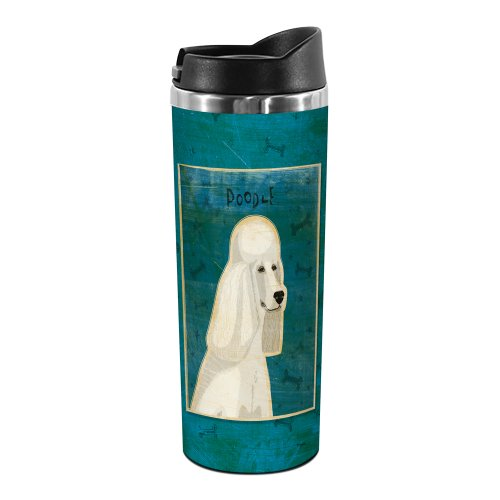 Tree-Free Greetings TT01990 John W. Golden 18-8 Double Wall Stainless Steel Artful Tumbler, 14-Ounce, White - Mug Travel Poodle