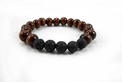 Lava Rock  Dark Wood Bracelet, Size 7 inch, 10mm Wood  Lava Stone, Essential Oil Diffuser Bracelet, Mens  Womens Bracelet