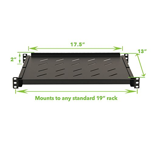 NavePoint Fixed Rack Vented Server Shelf 1U 19 Inch 4 Post Rack Mount Adjustable from 14-23 Inch Set of 2 Black