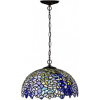 Amora lighting am263hl18 tiffany style hanging pendant chandelier chandeliersmagcolor tiffany style stained glass purple wisteria hanging lamp with 16 inches handmade lampshade aloadofball Gallery