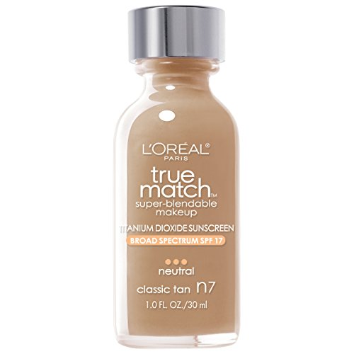 L'Oreal Paris Makeup True Match Super-Blendable Liquid Foundation, Classic Tan N7, 1 fl. oz.