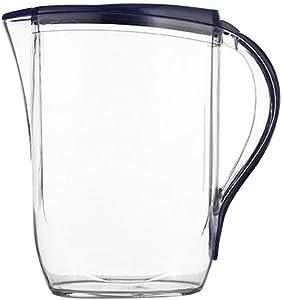 UPKOCH 2L Large Plastic Pitcher with Lid Heat Resistant Hot Cold Water Carafe Water Jug for Juice Beverage Jar Ice Tea Kettle (Random Color)