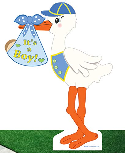 It's a Boy Tall Yard Stork Announcement Sign - Blue Baby Shower Party Decoration - Welcome Home Newborn Lawn Greeting (4 feet Tall) -