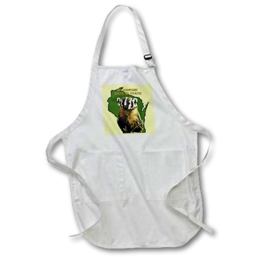(3dRose Wisconsin Badger State - Full Length Apron, 22 by 30-inch, White, With Pockets (apr_41201_1))