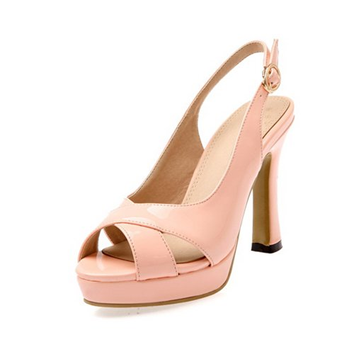 Vogue001 Womens Open Peep Toe High Heel Platform PU Patent Lether Solid Sandals with Buckle, Pink, 38