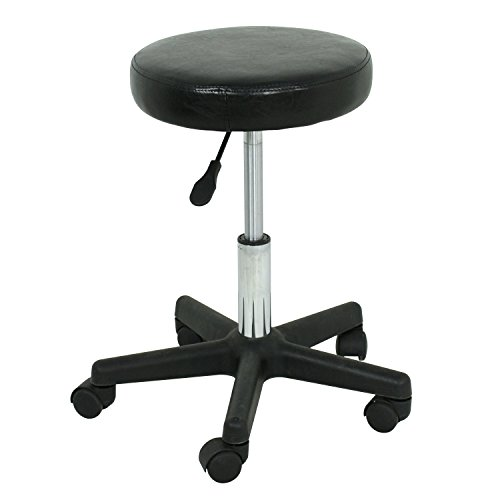 F2C Leather Adjustable Bar Stools Swivel Chairs Facial Massage Spa Salon Stool with Wheels White/Black (Black) by F2C (Image #3)
