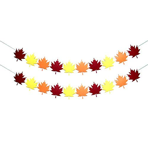 KatchOn Maple Leaf Garland Autumn Garland - Pack of 2, No DIY Required | Great for Thanksgiving, Baby Bridal Shower, Wedding, Fall Themed Birthday | Home, Office, Table Mantle and Fireplace Décor
