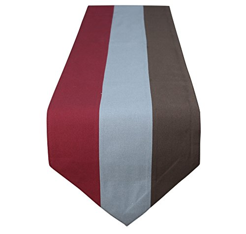 Lovein Table Runner 13x72 inch Heavy Weight Rectangle Cotton Decorative Dresser Scarves(Red& Grey& Brown)