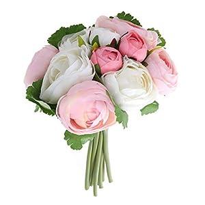 BESTOYARD 10pcs Artificial Flowers Camellia Bridal Wedding Bouquet Bridesmaid Bride Toss Bouquet Home Decoration (Pink & White) 11