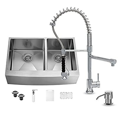 VIGO 36 inch Farmhouse Apron 60/40 Double Bowl 16 Gauge Stainless Steel Kitchen Sink with Zurich Chrome Faucet, Two Grids, Two Strainers and Soap Dispenser