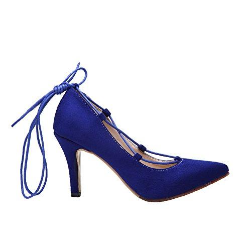 AllhqFashion Damen Schnüren Spitz Zehe Hoher Absatz Nubukleder Pumps Schuhe Blau