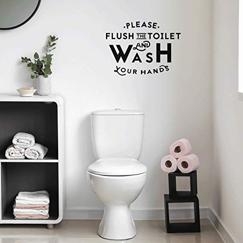 """Vinyl Wall Art Decal - Please Flush The Toilet and Wash Your Hands - 16"""" x 22"""" - Modern Bathroom Sign for Home Kids Room Daycare School Store Restroom Decor Sticker (Black)"""