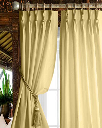 Magic Drapes Café and Living Room Curtains Thermal Insulated Blackout Noise Reducing Window Panels Polyester Triple Pinch Pleat Beige Curtains for Kitchen,Living Room,Bedroom,Hall(42x63,Beige)