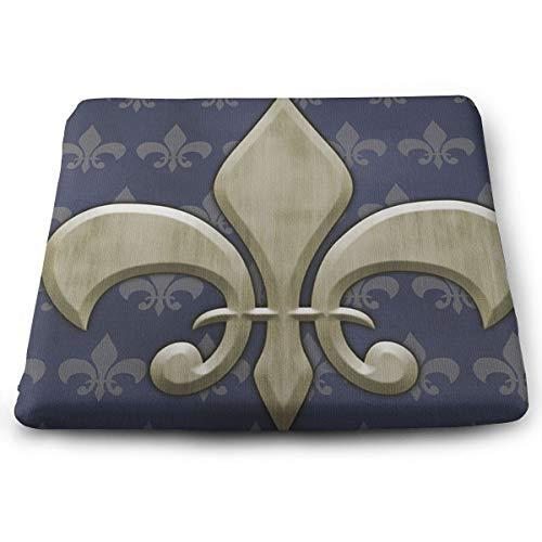 Jhgsjnsf Fleur De Lis Indoor/Outdoor Memory Foam Seat Cushion,Chair Pad/Seat Cushion (De Lis Chair Cushions Fleur)