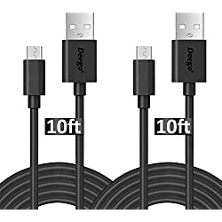 Micro USB Cable, [10Ft 2Pack]Extra Long Quick Charge Cord, High Speed USB Durable Charging Cables for Android/Samsung Galaxy S4 S6 S7/Note 3 4 5/HTC/LG/Echo Dot(2nd Generation)/Tap - Black