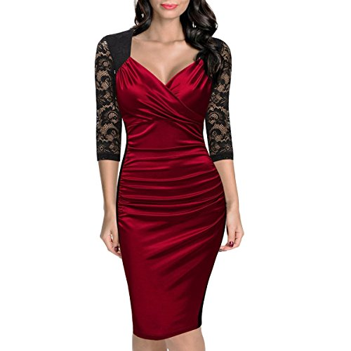 JINGLIYA Elegante Atractivo Mujeres Chica Media Manga con Cuello En V Cordón Cremallera Baile Banquete Cóctel Vestido Red