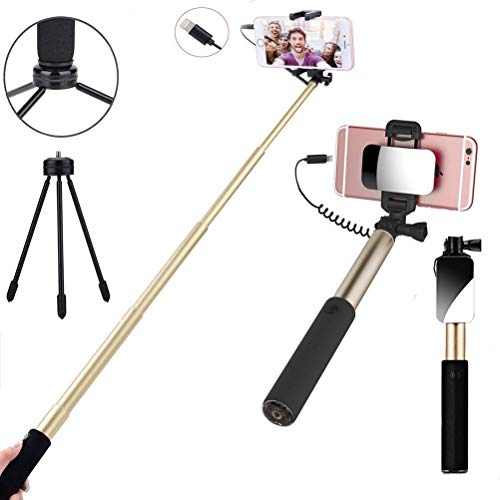 Selfie Stick,Selfie Stick Wired Control Extendable Compact Handheld Tripod with Mirror HD Rear Camera Long Selfie Stick Compatible with iPhone X 8 8Plus 7 7Plus 6 6S Plus (Gold)