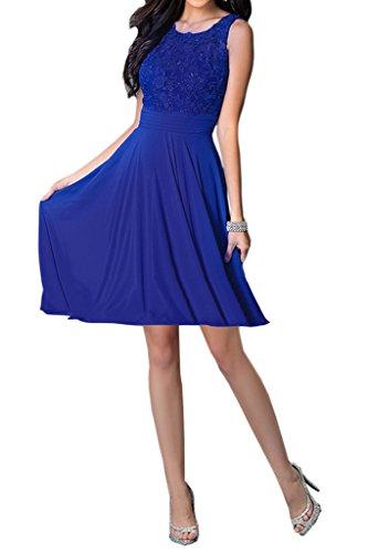 Missdressy Chiffon Royalblau Aermellos Rundkragen Partykleider Festkleider Applikation Elegant Tanzenkleider Kurz Charmeuse Abendkleider Damen BTwxBOf