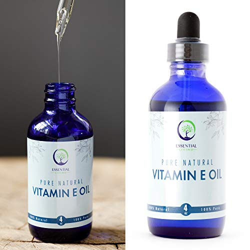 Essential Living Pure Natural Vitamin E Oil 4 oz Perfect for Skin Moisturization, Wrinkles, Nails and Cuticles, Lips, Heals Stretch Marks and Surgical Scars, Reduce Skin Spots, Full of Antioxidants
