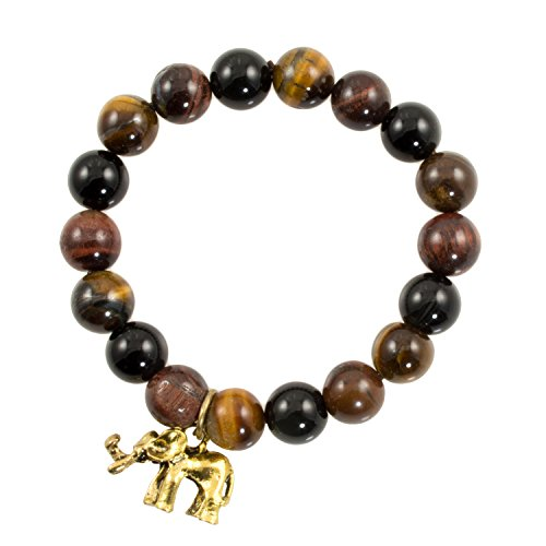 Gold Tone Tigers Eye Bracelet - Just Give Me Jewels Genuine Tigers Eye Gemstone Stretch Bracelet With Goldtone Elephant Charm