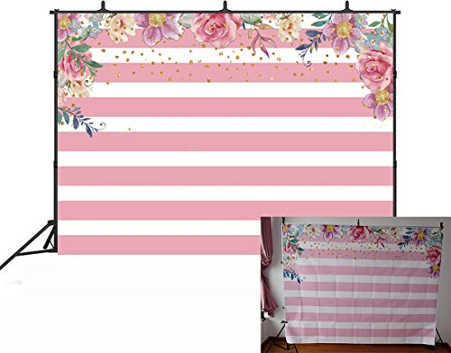GYA 7x5FT Pink Girl Baptism Pink Christening Floral Birthday Theme Backdrop Girls Lady Kids Adult Happy Birthday Carnival Party Cake Table Photography Background Decoration (Best Theme For Christening)