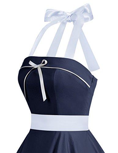Dresstells® Vestido Mujer Corto Lunares Halter Retro Vintage Rockabilly Navy