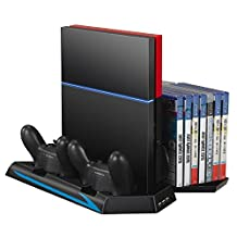 TurnRaise PS4 Vertical Stand with Cooling Fan | PS4 DualShock Controller Charger | 14 Slot Game Disc Storage | 3 HUB Ports
