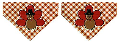 Dog Thanksgiving Collar Accessories Pilgrim Turkey Big Dog Bandanas 2-Pack Scarves for Dogs -