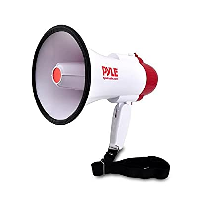 Megaphone Speaker PA Bullhorn with Built-in Siren - Adjustable Volume Control and 800 Yard Range - Ideal for Football, Soccer, Baseball, Hockey and Basketball Cheerleading Fans and Coaches or for Safety Drills (PMP30)