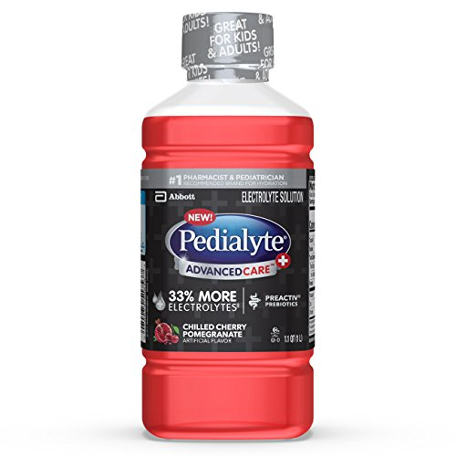 Pedialyte AdvancedCare+ Electrolyte Drink with 33% More Electrolytes and has PreActiv Prebiotics, Cherry Pomegranate, 1 Liter, 4 Count ()
