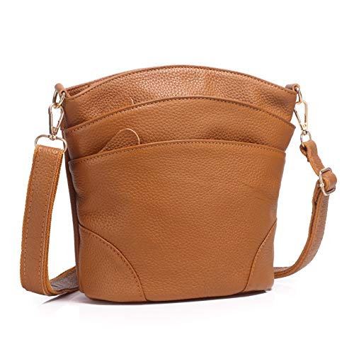 Genuine Leather Multi Pocket Triple Zipper Crossbody Purse (Brown)